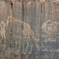 Giraffe engraving in the deep south of the Algerian Sahara
