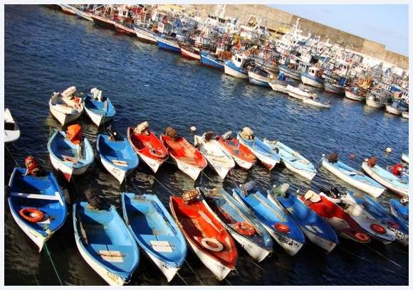 The fishing village of El Kala with its colourful boats